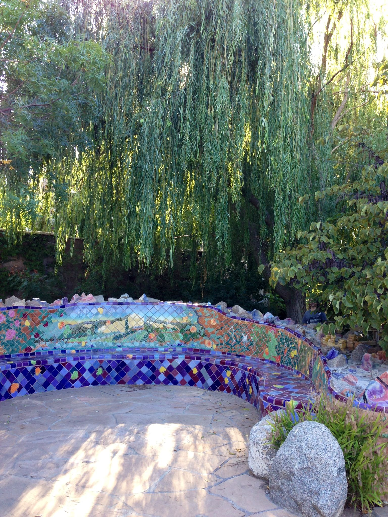 mosaic tile bench with weeping willow ABQ BioPark Botanical