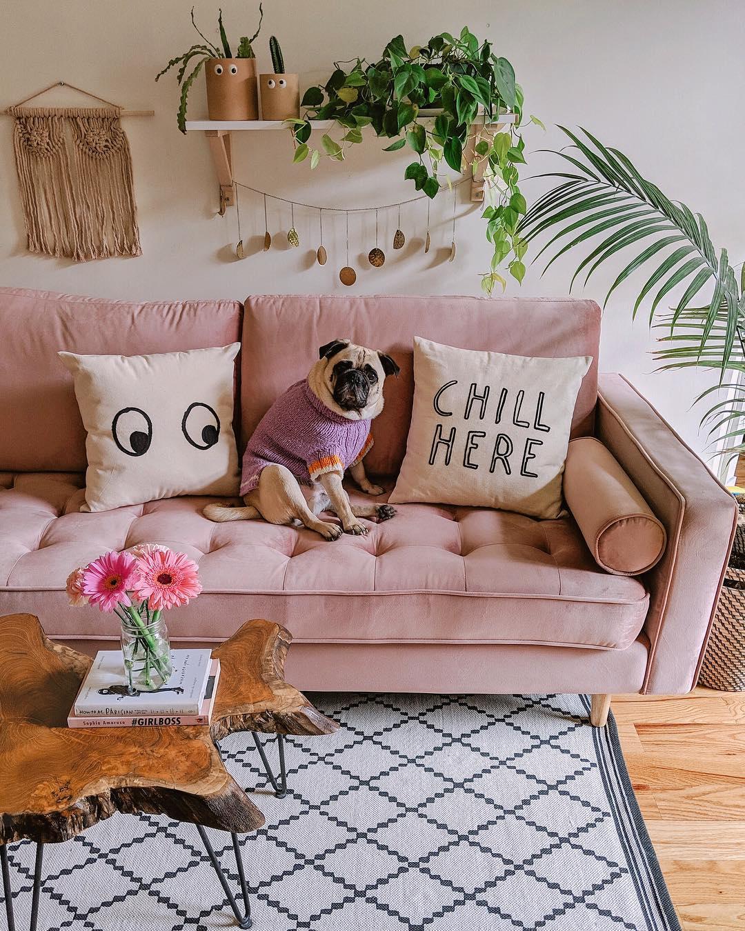 Matilde Velvet Sofa Pink Sofa Living Room Pink Living Room Colourful Living Room #pink #living #room #furniture #set