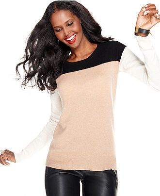 Charter Club Sweater, Long-Sleeve Cashmere Colorblocked - Cashmere Shop - Women - Macy's