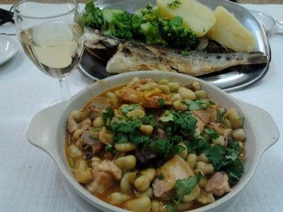 Favas guisadas and grilled seabass for lunch at my favorite local tasca - An American In Portugal Tours