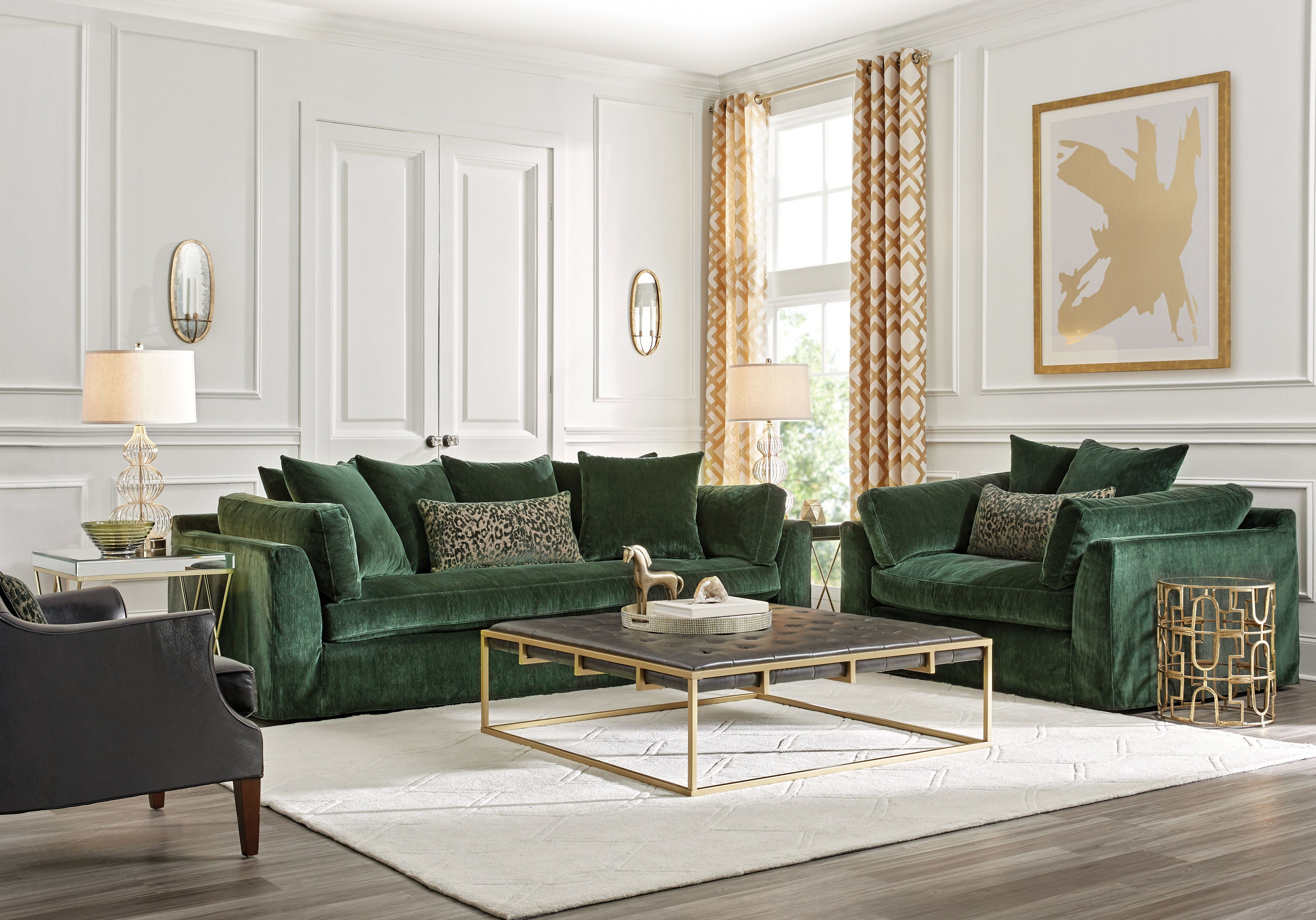 Raven Lane Green 3 Pc Living Room 2188 0 3pc Set Includes