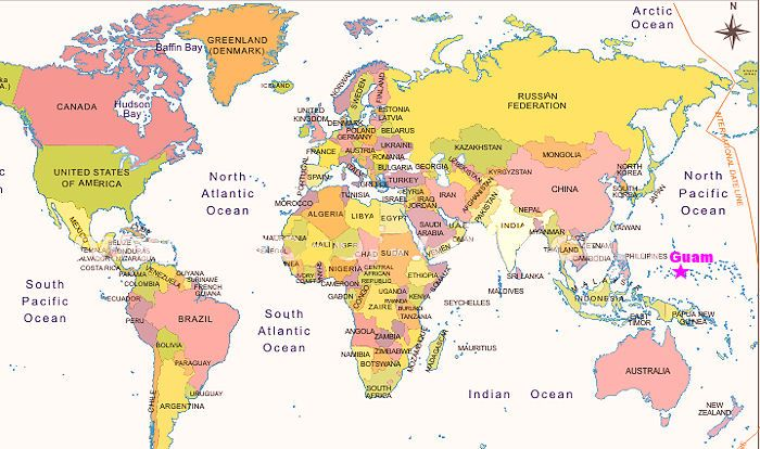 World map - showing Guam | Tropical islands, Guam, Map on world map with guam labeled, world map showing guam, world map guam wake island hawaii, world map guam geography, world map guam date, world map with guam and hawaii, world map saipan guam rota tinian, world map pacific islands guam,