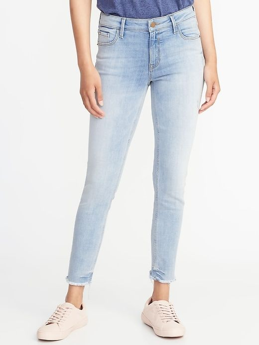 93356b0af14 Mid-Rise Rockstar Super Skinny Raw-Edge Ankle Jeans for Women in ...
