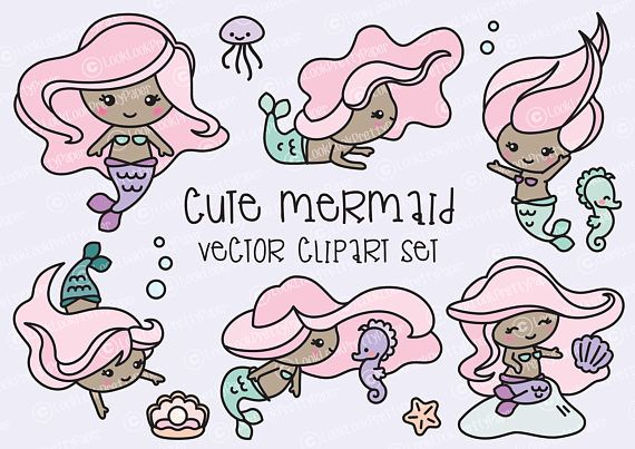 Premium vector clipart kawaii mermaids cute mermaids clipart set high quality vector clipart cute mermaid vector clip art kawaii mermaids perfect stopboris
