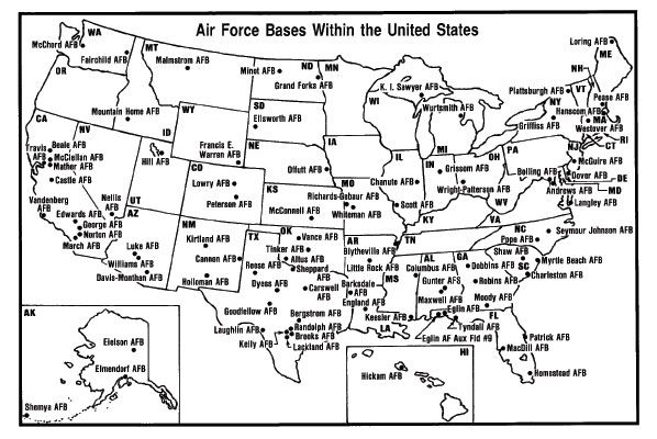 Air Force Bases In England Map.Map Of United States Air Force Bases Kidscare Store