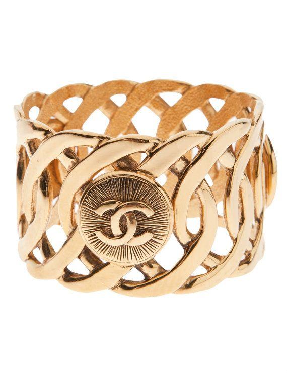Chanel bijoux fantaisie vintage or double bracelet par HauteDecades