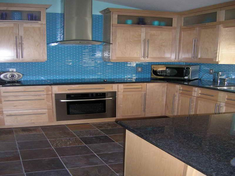 Kitchen Tiles Blue kitchen backsplash with turquoise blue glass mosaic subway tiles
