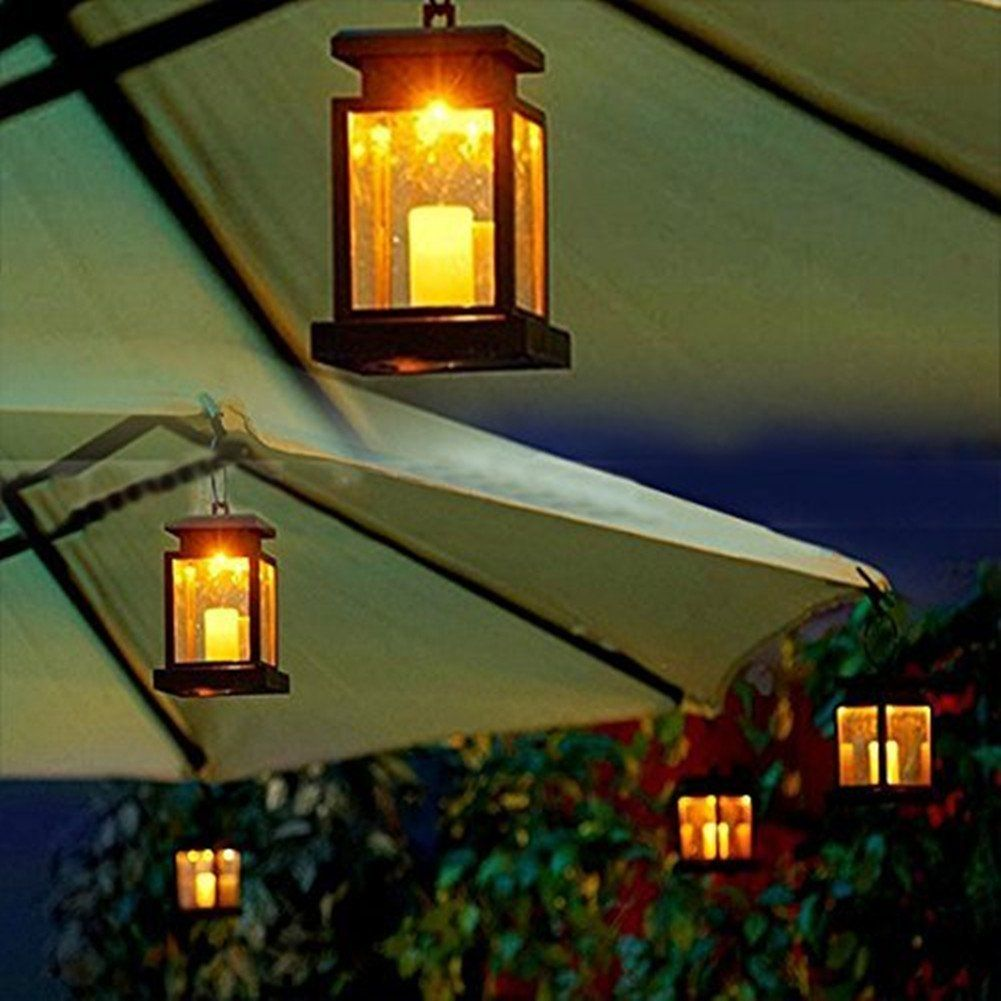 Hkyh 2 Pack Led Solar Mission Lantern Vintage Solar Powered Waterproof Hanging Umbrella Lan Hanging Solar Lights Patio Umbrella Lights Outdoor Candle Lanterns