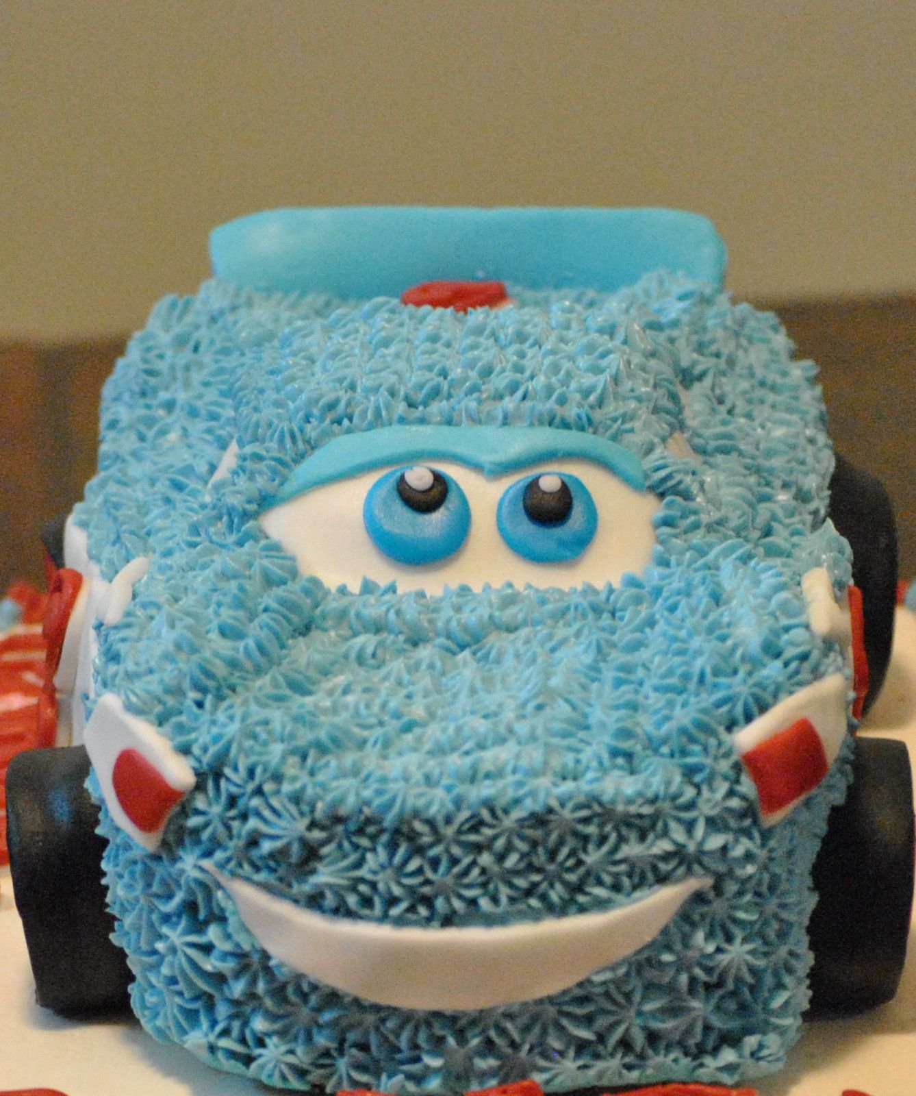 Lighting McQueen Cars Character Cake Frosted With Buttercream And Fondant Make Birthday Swiss