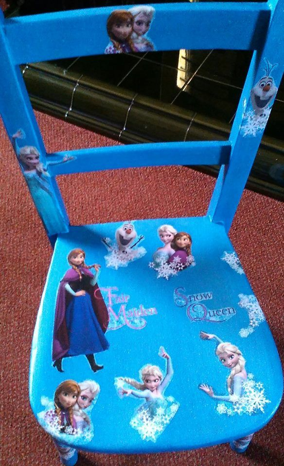 Hand made vintage childs chair upcycled in a Froze feel.