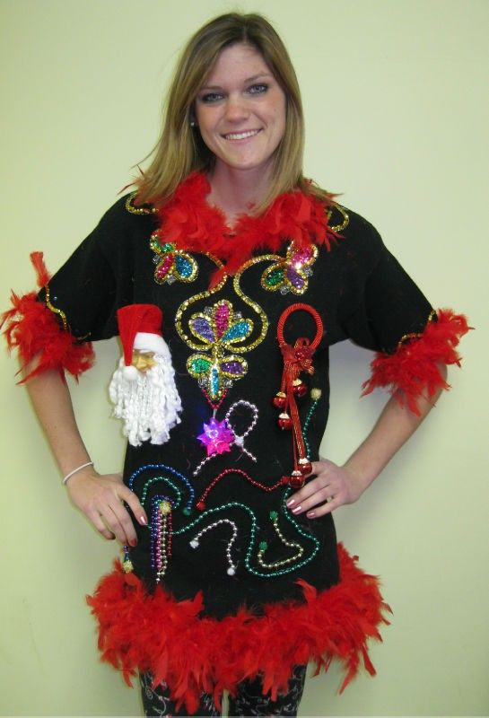 Amazing How To Decorate An Ugly Christmas Sweater Part - 12: Ugly Christmas Sweater Dress For Women - See Lots Of Impressive Christmas  Decorations!