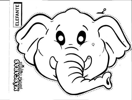 Free Printable Animal Masks Templates Elephant Mask Coloring Pages