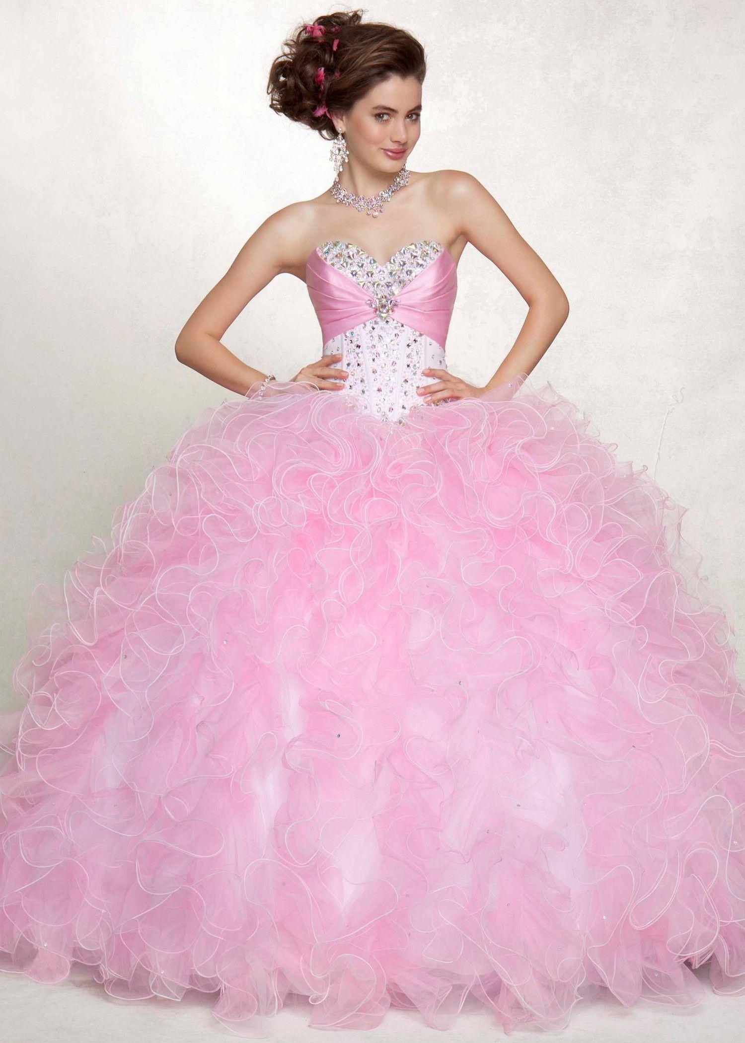 Vizcaya ballet pink bubble strapless two tone satin