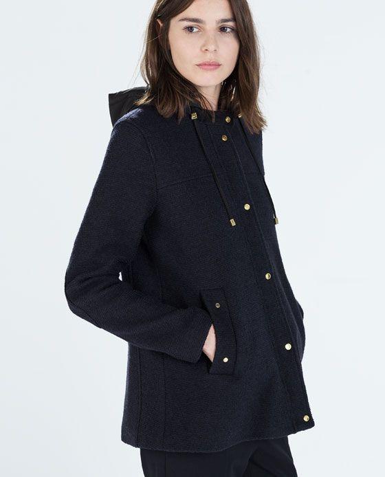 Abrigo corto lana capucha zara