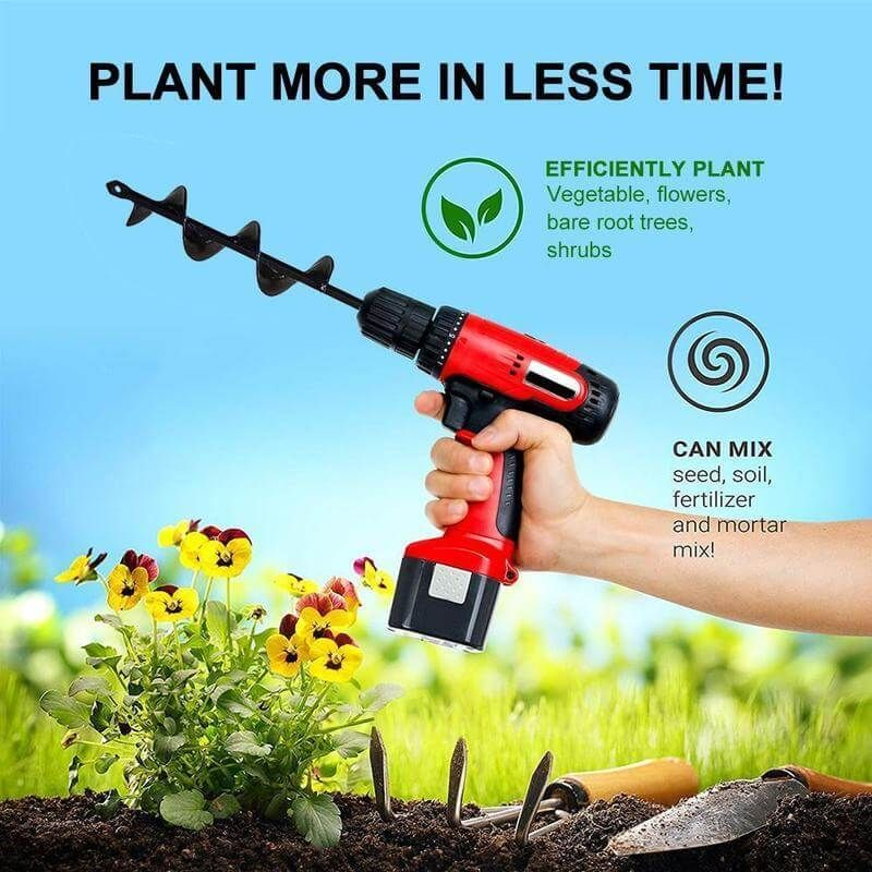 Garden Auger Spiral Electric Drill Bit Tool For Planting Braw