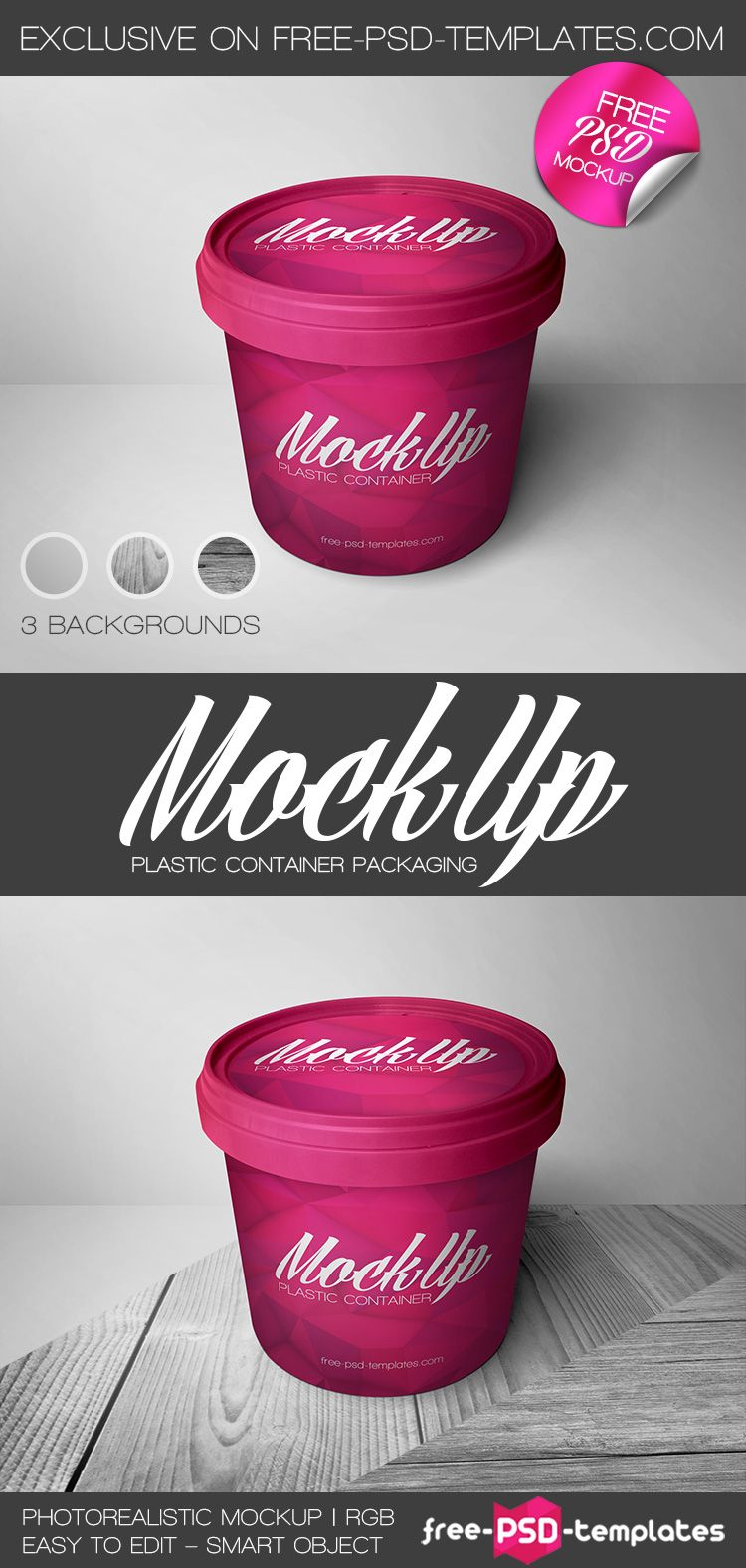 Free Plastic Container Packaging Mock Up In Psd Embalagem De Cosmeticos Embalagens Free