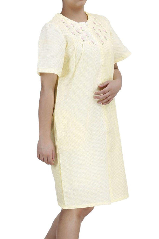 EZI Women\'s Duster4 Short Sleeve Zip Up Cotton House Dress ...