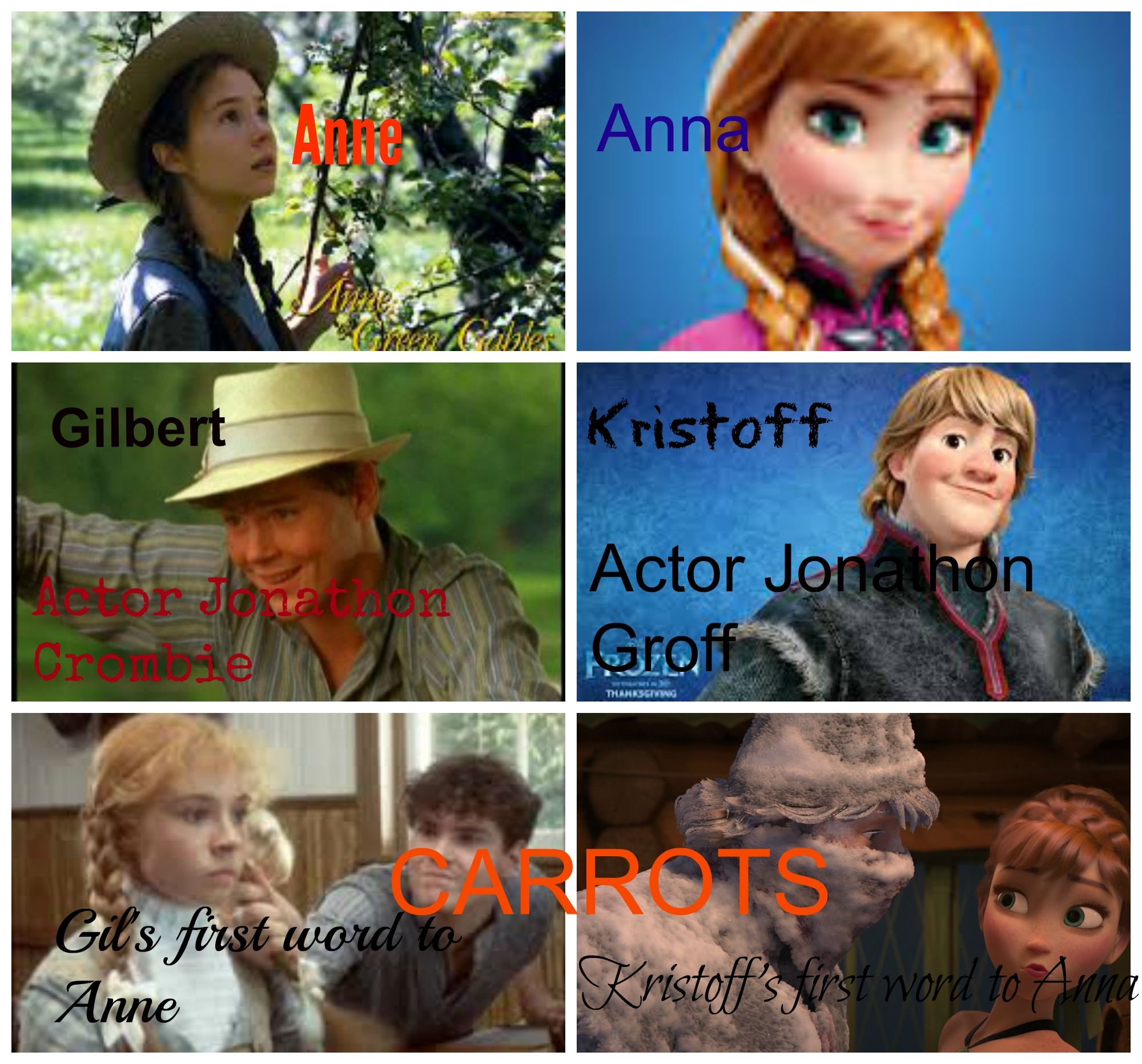 "Anne of Green Gables-Frozen Commonalities -Anne/Anna -Male leads voiced by Jonathons -First word to love interest ""CARROTS"""