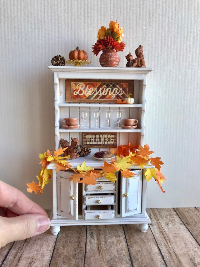 Dollhouse miniature hutch, holiday miniatures, dollhouse kitchen furniture #miniaturedollhouse