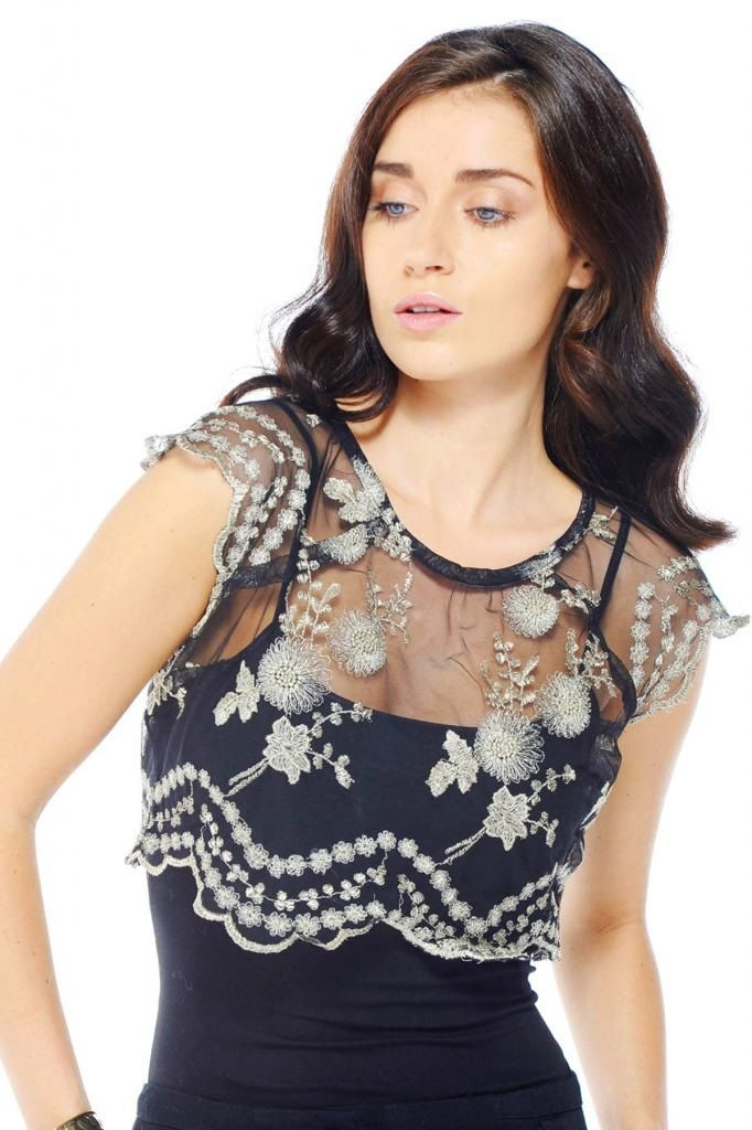 Black Short Mesh Embroidered Top