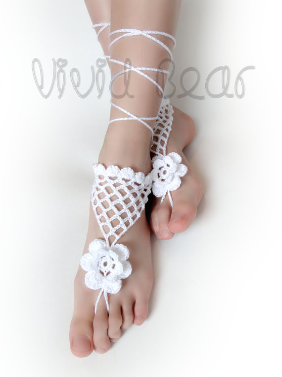 Crochet Foot Jewelry White Flower And Net Anklet Boho Accessory Beach Wedding