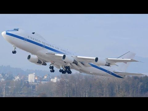 INCREDIBLE SOUND of this USAF Boeing E-4B at ZRH (Live ATC