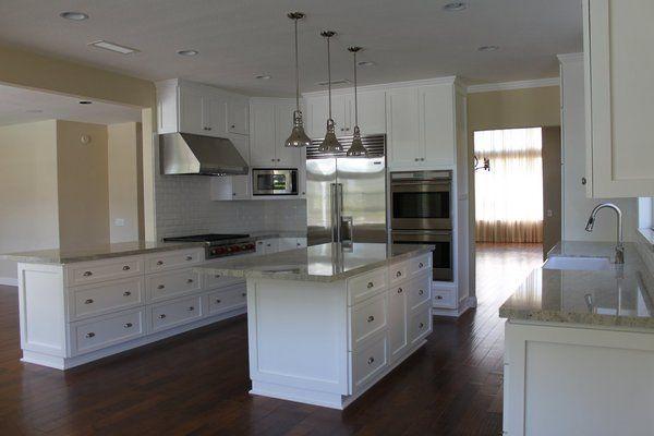 white kitchen cabinets with dark wood floors   Custom ...