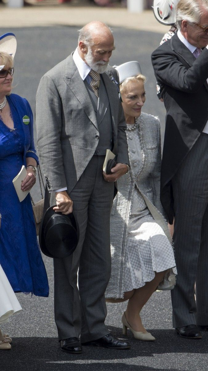 Princess Michael of Kent curtseys and Prince Michael of