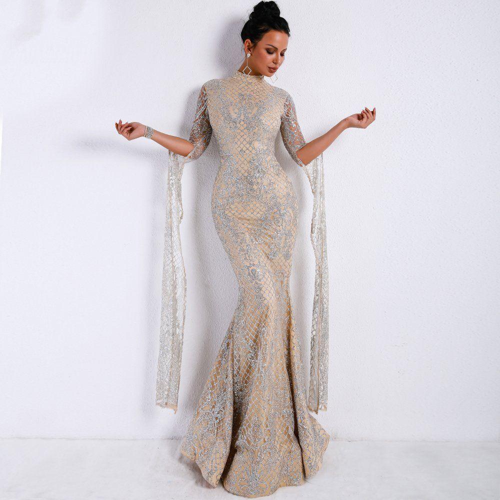91313a191c076 Women Sexy Elegant Glitter Dress Evening Dress SILVER Gown Specifics: Sleeve  Style:Regular Silhouette:Sheath Waistline:Empire Season:Spring, Autumn  Sleeve ...