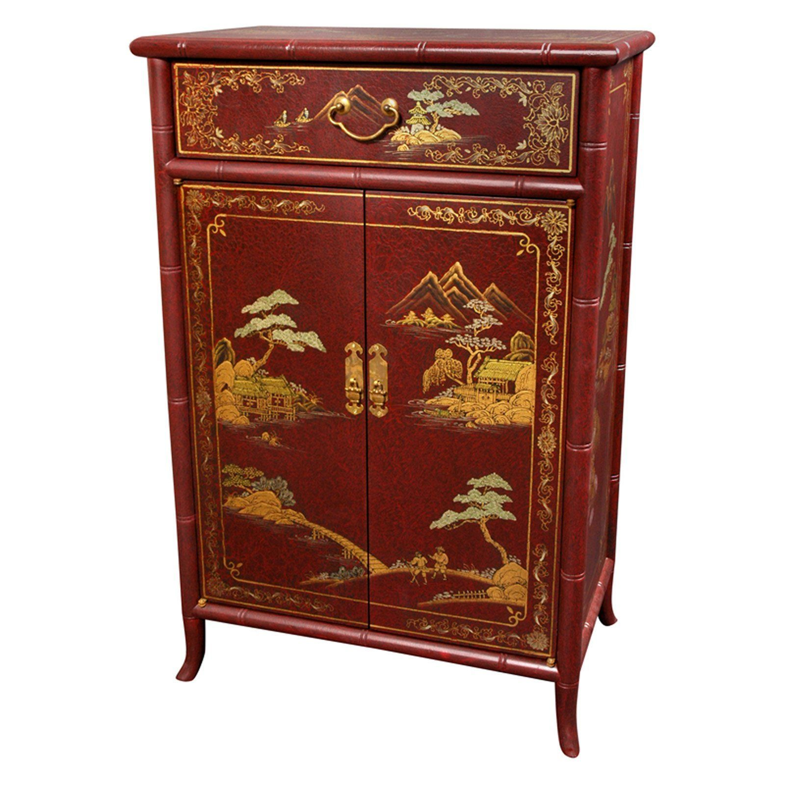 Orientalische Mobel Japanese Crackle Decorative Chest Red In 2020