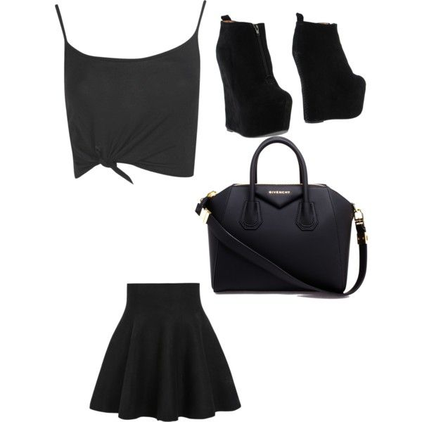 A fashion look from March 2015 featuring crop top, short skirts and leather boots. Browse and shop related looks.