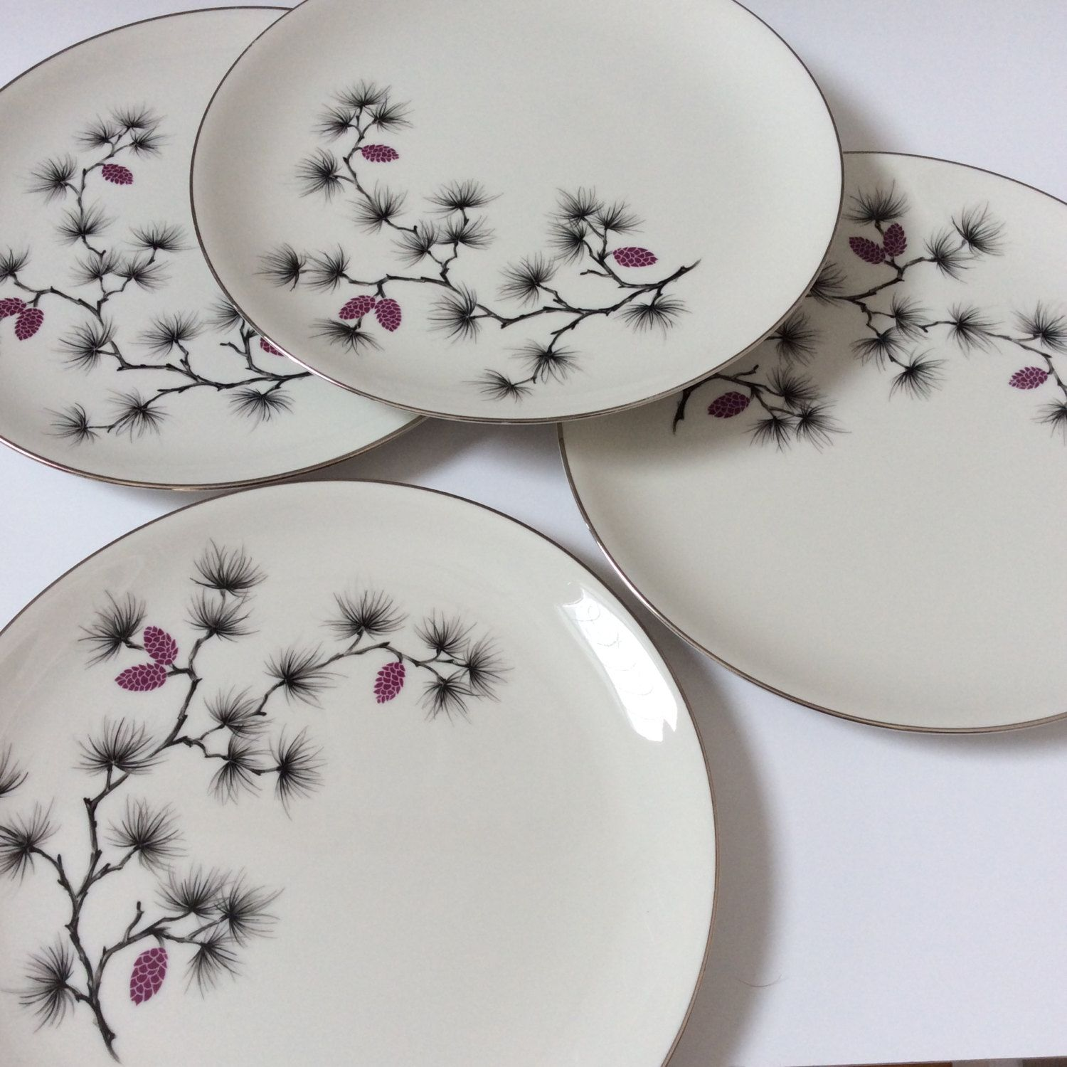 Vintage Arcadian Fine China Dinner Plates Southern Pines Pattern Set of Four by EastWestVintage1 on Etsy & Vintage Arcadian Fine China Dinner Plates Southern Pines Pattern ...