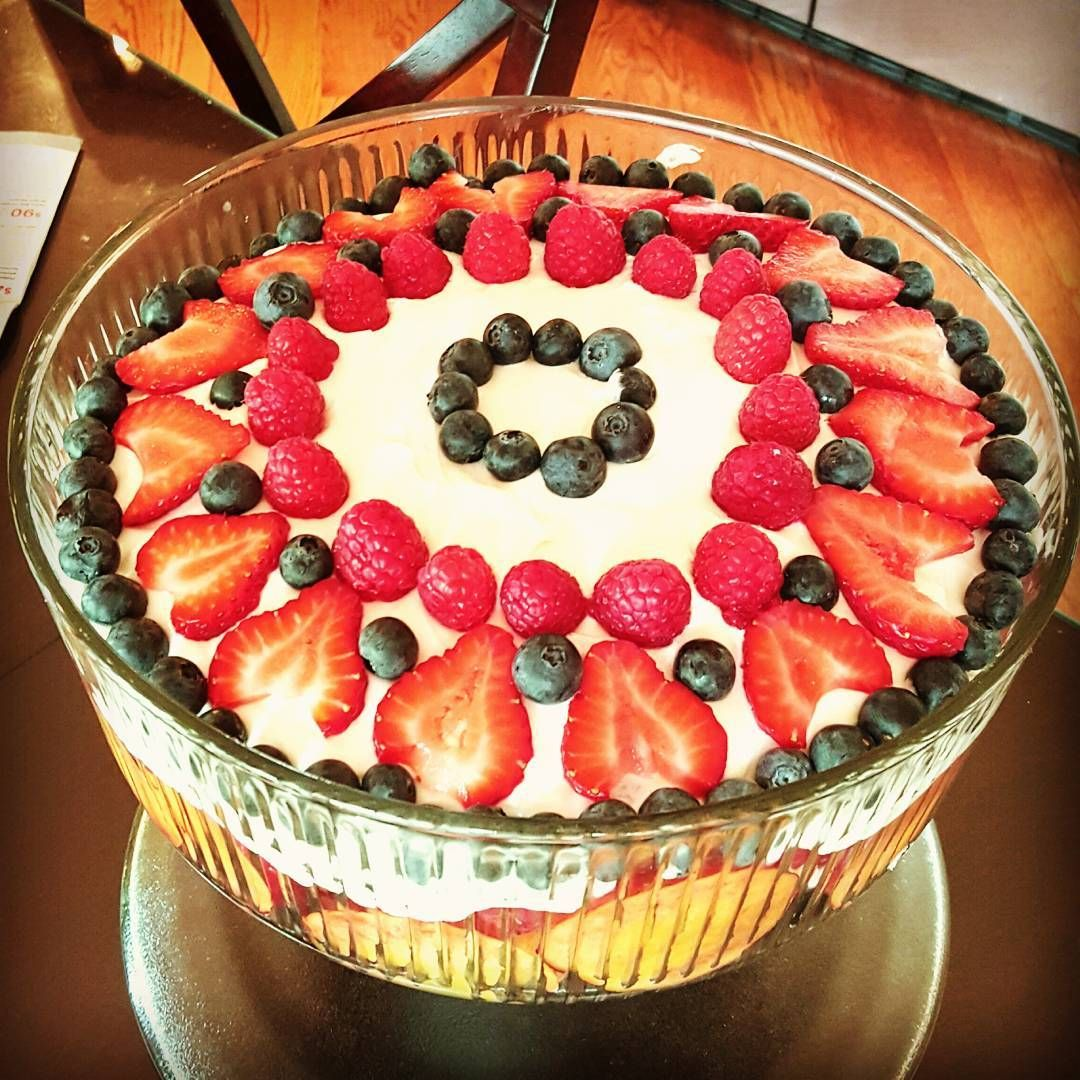 July 4th Desert - Festive Patriotic Triffle! Combine Marshmallow Fluff with Cream Cheese to create a faux cheesecake flavor. Then layer with fresh fruits I used nectarines, green grapes and of course berries!!