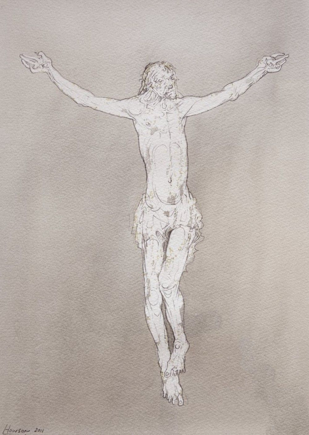Peter Howson 'Christ', 2013, 35.5x25.5cm, pencil and ink on paper.