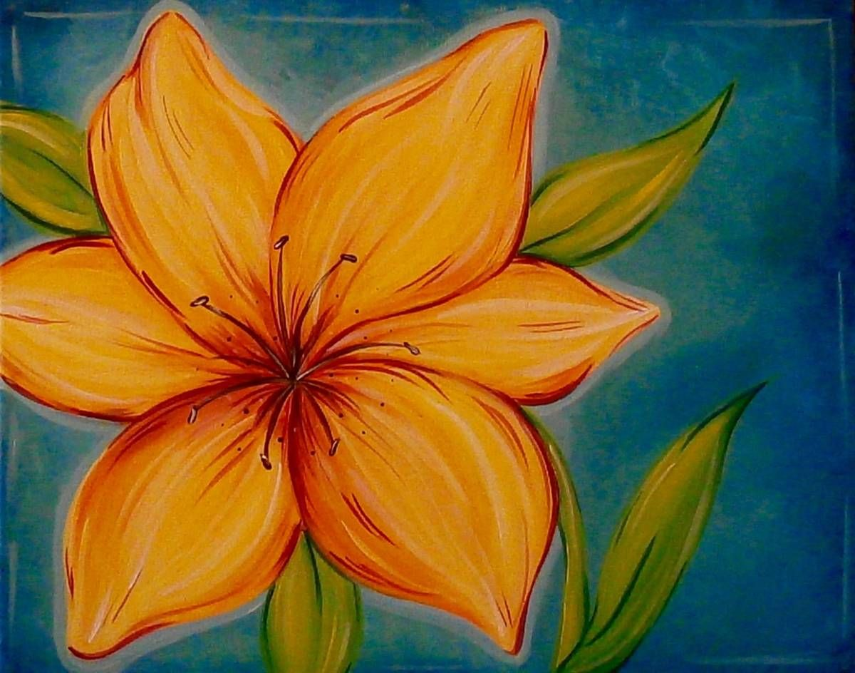 Tiger Lily Flower Painting Canvas Flower Painting Acrylic