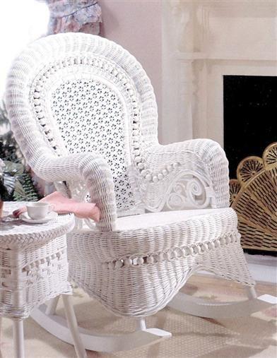 Amelia Wicker Rocker White Wicker Furniture White Rocking Chairs Outdoor Wicker Furniture