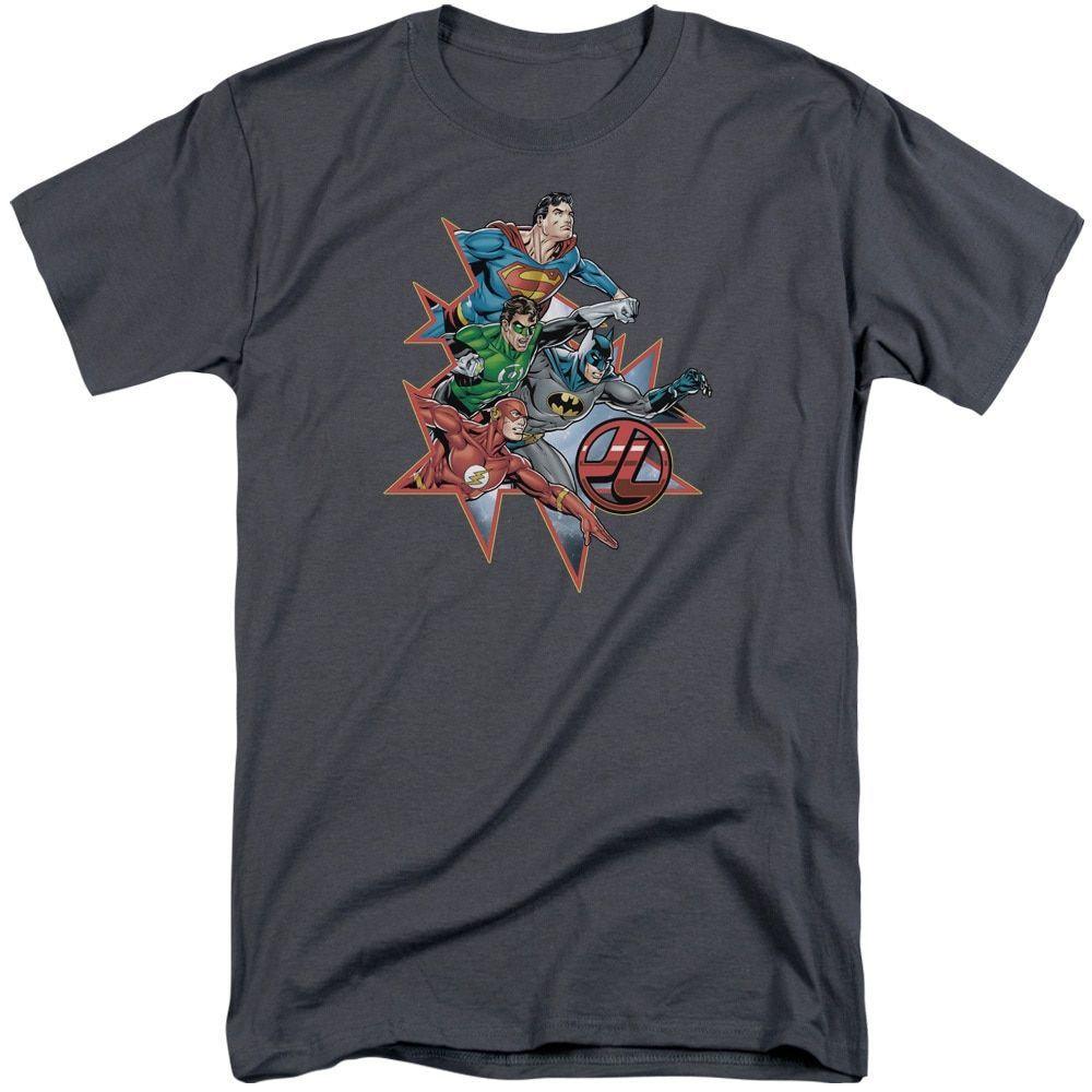 JLA/Starburst Short Sleeve Adult T-Shirt Tall in Charcoal, - Mens
