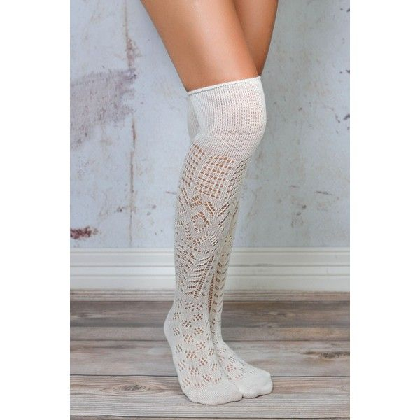 Ivory Thigh High Patterned Boot Socks ($23) ❤ liked on Polyvore featuring intimates, hosiery, socks, patterned socks, thigh-high socks, print socks, thigh high hosiery and patterned hosiery