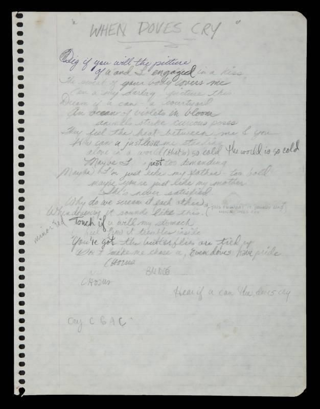 Prince's handwritten notes
