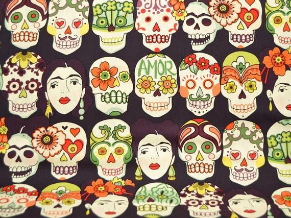 Gotas de Amor, Alexander Henry, Dark Eggplant, Sugar Skulls, Day of the Dead, Die de los Muertos, By