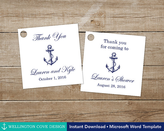 Printable Nautical Favor Tags Editable Template For Microsoft Word Navy Anchor Wedding Tag