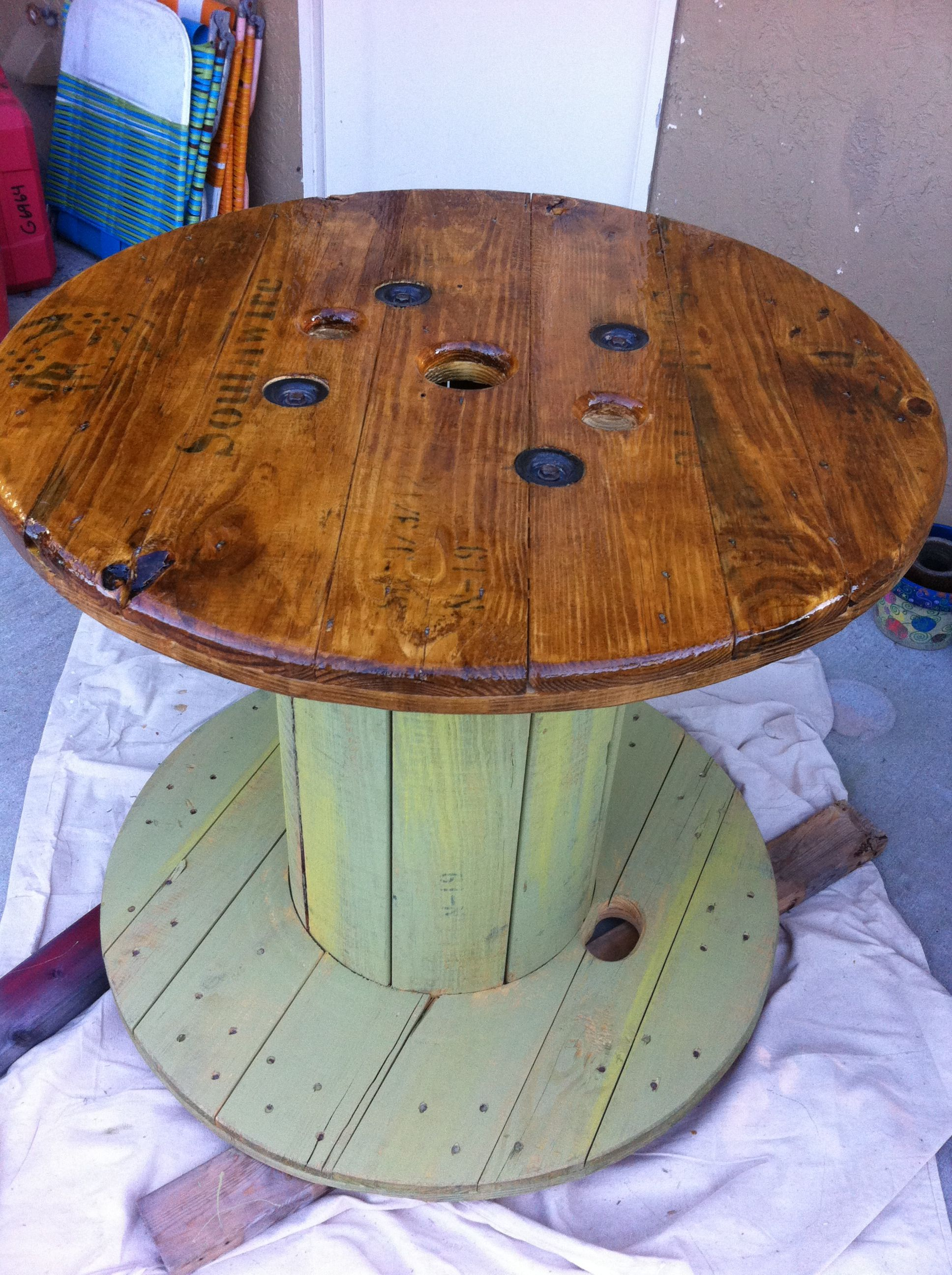 Wooden Wire spool table. Turned out Awesome! | things i\'ve made ...