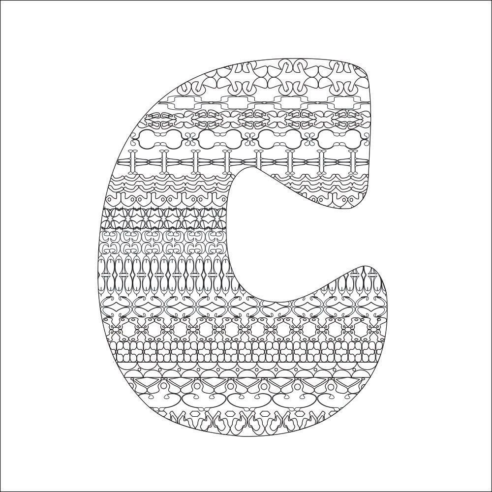 letter c coloring page instant pdf digital download print