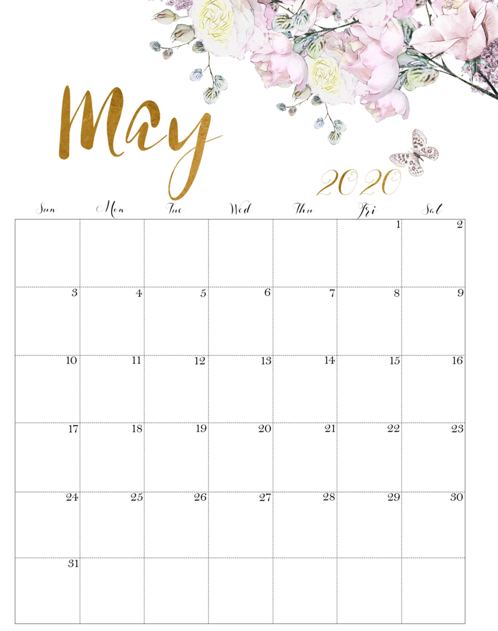 Pin on 2020 Monthly Calendar Template