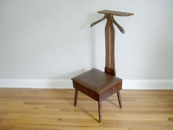 Vintage Mad Men Era Valet Chair Butler Chair Wooden by Verdibou, $300.00 - Vintage Mad Men Era Valet Chair - Butler Chair - Wooden And Brown