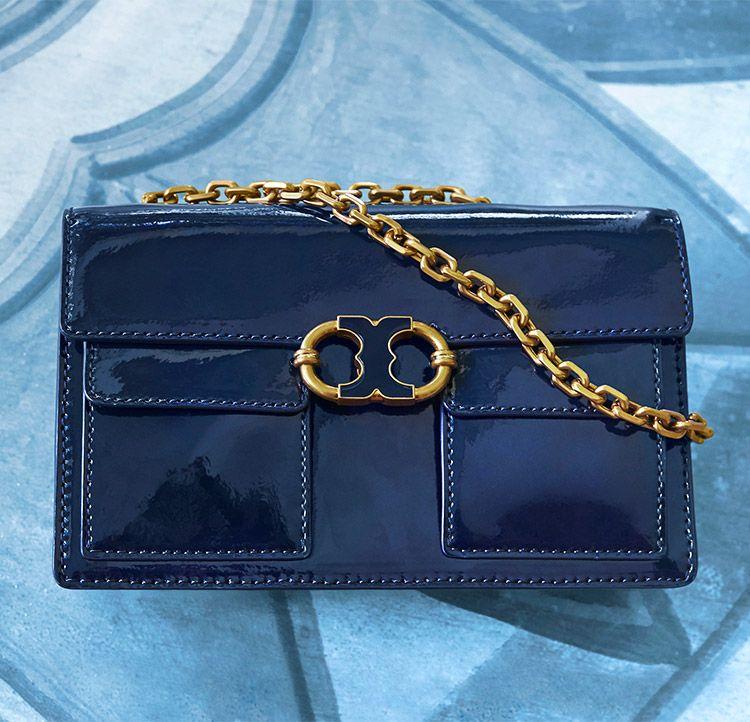 a06f7d16c39 Tory Burch Gemini Link Patent Chain Shoulder Bag