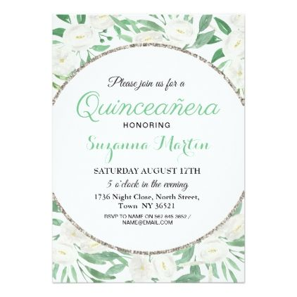 Floral Glitter Quinceanera Birthday Party Invite  Floral
