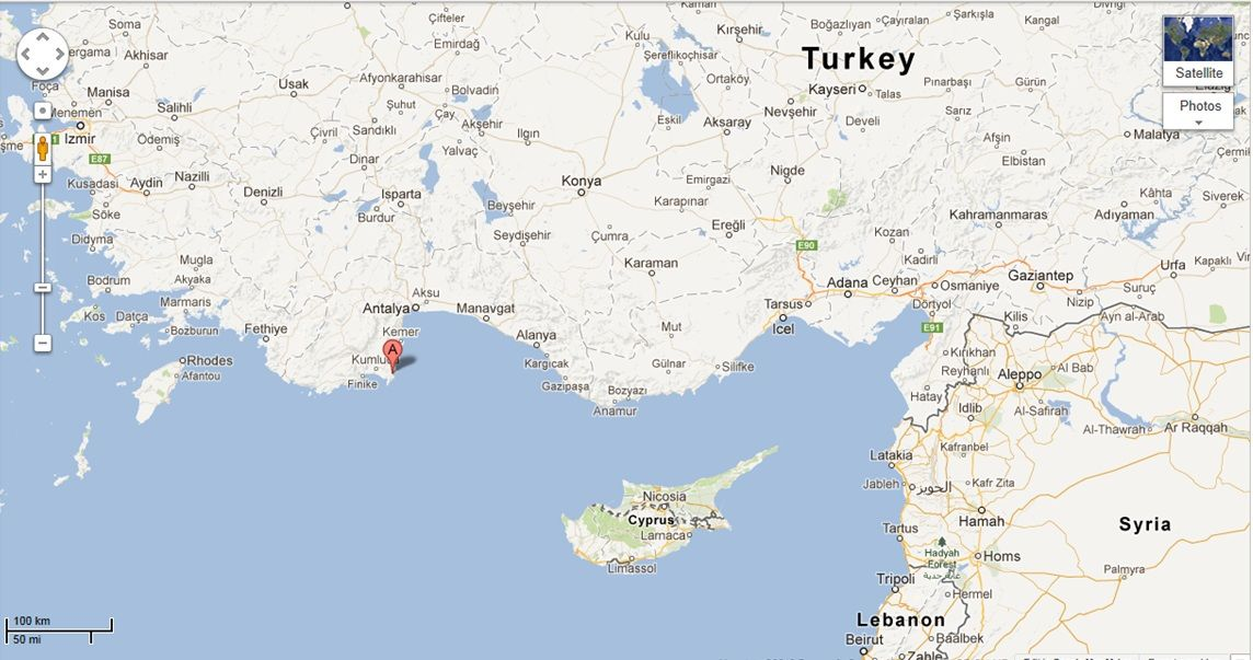 Map showing Adrasan AdrasanTurkey yoga retreat in June 2013