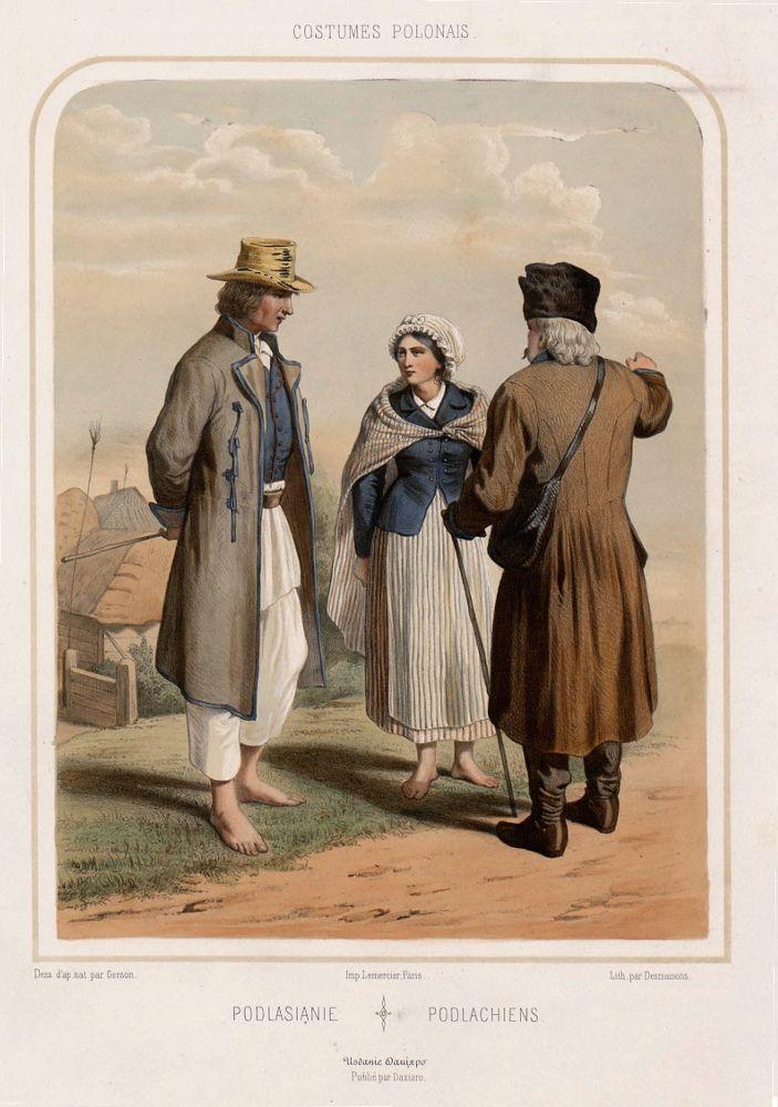 "Folk costumes from Podlasie region (Podlasianie ethnographic group), Poland. Drawing by Wojciech Gerson in ""Costumes polonais (…)"", 1855."