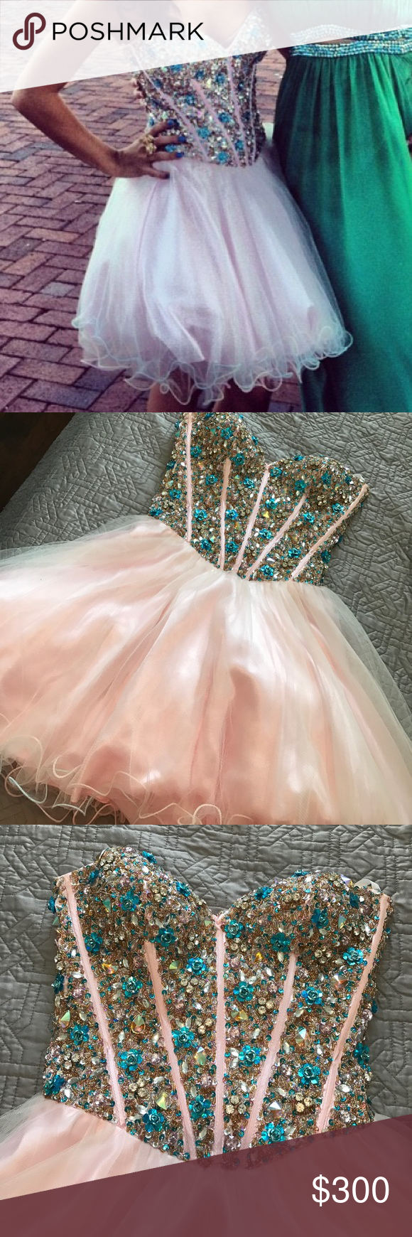 Terani pink jewled cocktail homecoming prom dress beautiful it is